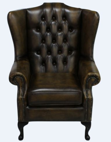 Chesterfield Prince's Mallory Flat Wing Queen Anne High Back Wing Chair UK Manufactured Antique Gold Leather