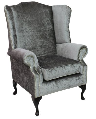 Chesterfield Prince's Saxon Flat Wing Queen Anne High Back Wing Chair Shimmer Silver Velvet