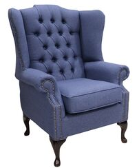 Chesterfield Prince's Flat Wing Queen Anne High Back Wing Chair Calabria Navy