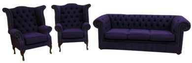 Chesterfield Suite Upholstered in Purple Fabric | Shop Sofas on Finance