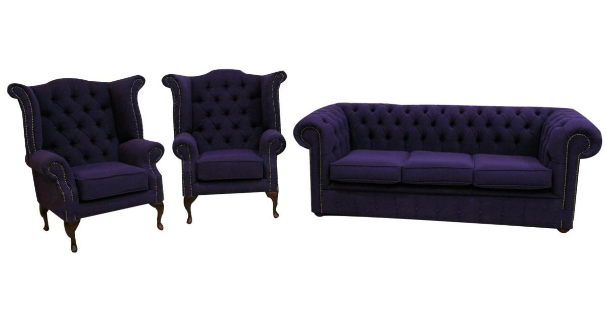Chesterfield Suite Upholstered In Purple Fabric Shop