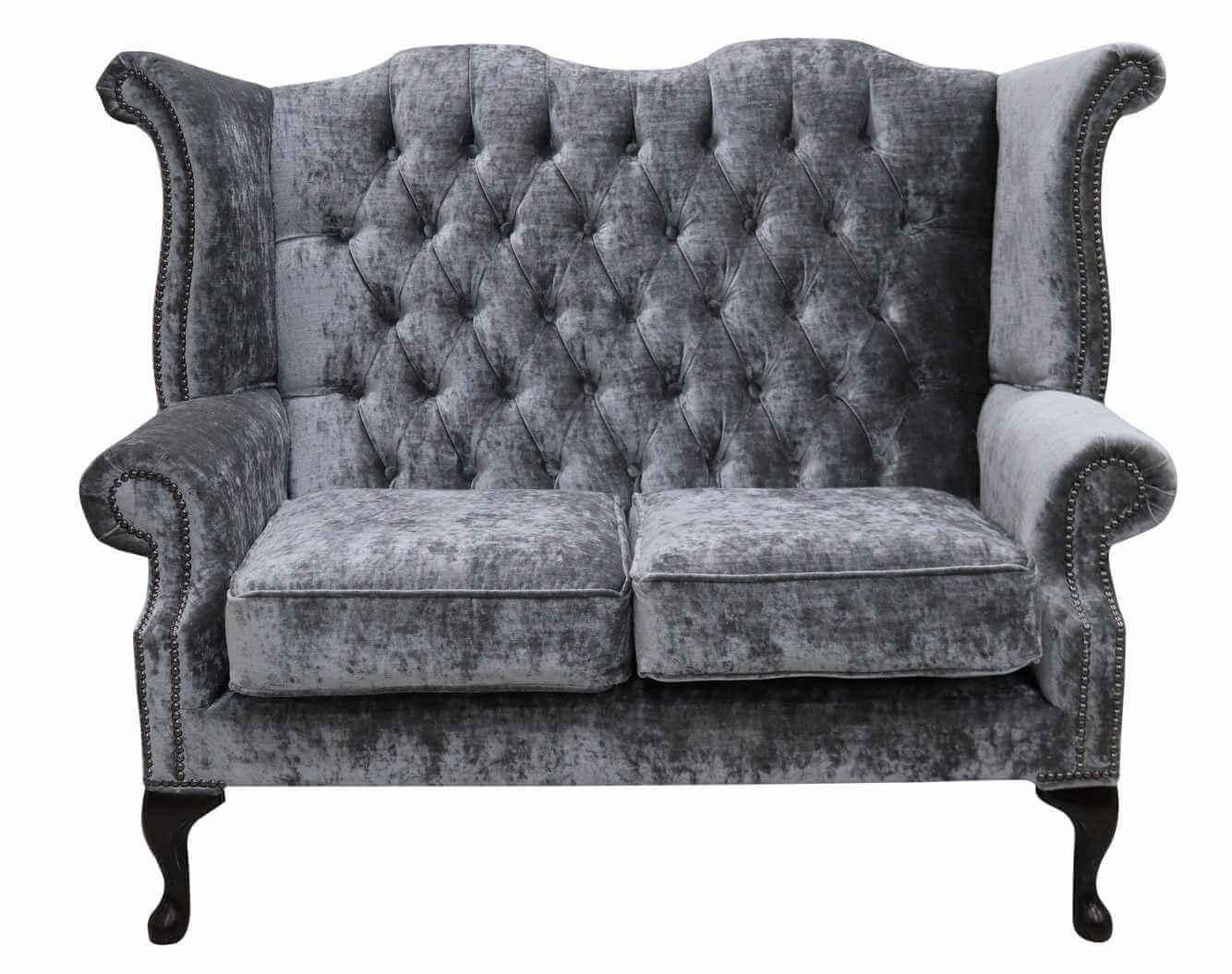 Sensational Details About Chesterfield 2 Seater Queen Anne High Back Wing Sofa Modena Regency Grey Velvet Dailytribune Chair Design For Home Dailytribuneorg