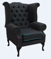 Chesterfield Linen Queen Anne High Back Wing Chair Charles Charcoal Blue Trim