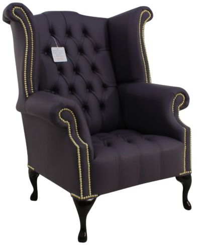 Chesterfield Buttoned Seat Queen Anne High Back Wing Chair Amethyst Purple Leather