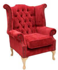 Chesterfield Fabric Queen Anne High Back Wing Chair Post Box
