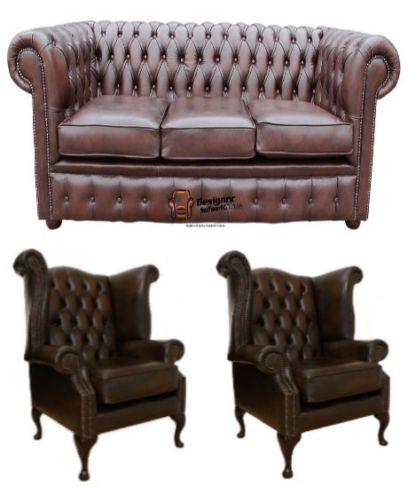 Chesterfield Leather 3 Seater / Wing Chair / Wing Chair Sofa Offer Antique Brown