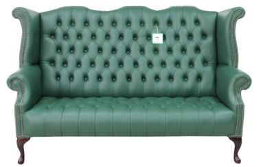 Chesterfield 3 Seater Queen Anne Buttoned Seat High Back Wing Sofa Bottle Green Leather