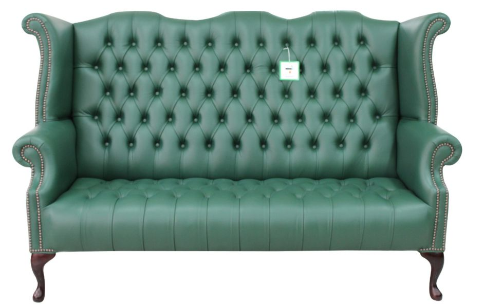 Chesterfield Queen Anne High Back Sofa Bottle Green Leather