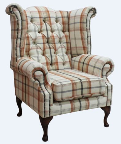 Chesterfield Queen Anne Wing Chair High Back Armchair Piazza Square Check Mulberry Fabric