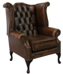 Belvedere Chesterfield Antique Leather Queen Anne Armchair