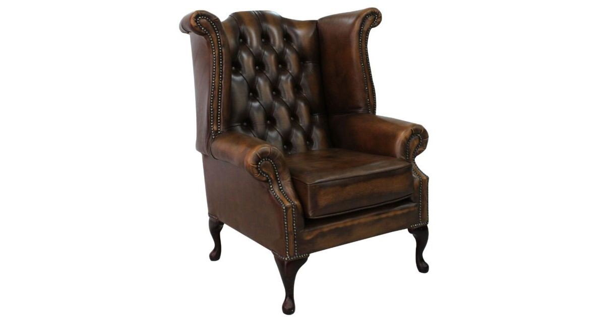 antique tan chesterfield queen anne wing chair designersofas4u. Black Bedroom Furniture Sets. Home Design Ideas
