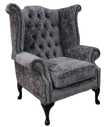 Chesterfield Fabric Queen Anne High Back Wing Chair Belvedere Pewter Grey Velvet