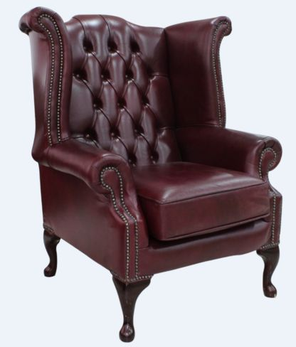 Bonded Leather Burgandy Chesterfield Queen Anne Wing chair | DesignerSofas4U