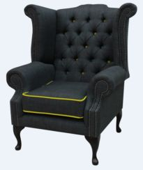 Chesterfield Linen Queen Anne High Back Wing Chair Charles Charcoal Yellow Trim