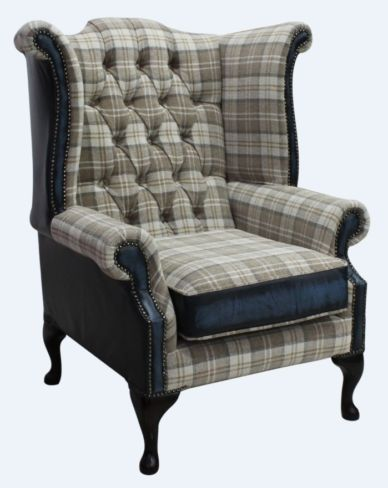 Chesterfield Queen Anne High Back Wing Chair Lana Beige Antique Blue Leather