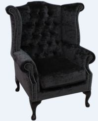 Chesterfield Queen Anne High Back Wing Chair Modena Midnigt Velvet
