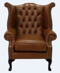 Chesterfield Queen Anne High Back Wing Chair Old English Bruciato