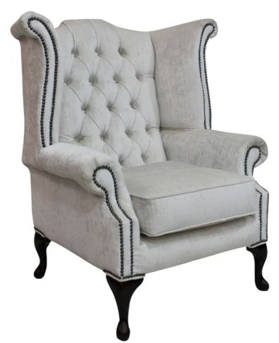 Chesterfield Queen Anne High Back Wing Chair Pastiche Chalk Velvet