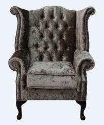 Chesterfield Velvet Queen Anne High Back Wing Chair Senso Chocolate