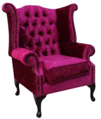 Chesterfield Queen Anne High Back Wing Chair Shimmer Fuchsia Velvet