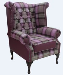 Chesterfield Queen Anne Wool Tweed Leather Wing Chair Fireside High Back Armchair Skye Amethyst Check