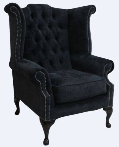 Chesterfield Fabric Queen Anne High Back Wing Chair Velluto Dusky