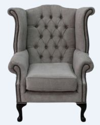 Chesterfield Fabric Queen Anne High Back Wing Chair Velluto Hessian Mink Fabric
