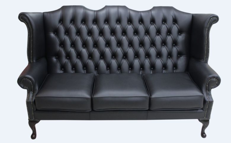 Chesterfield 3 Seater Queen Anne High Back Wing Sofa UK Manufactured Black