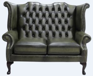 Chesterfield 2 Seater Queen Anne High Back Wing Sofa Antique Olive Leather