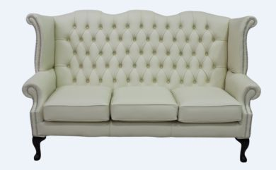 Chesterfield 3 Seater Queen Anne High Back Wing Sofa Cottonseed Cream