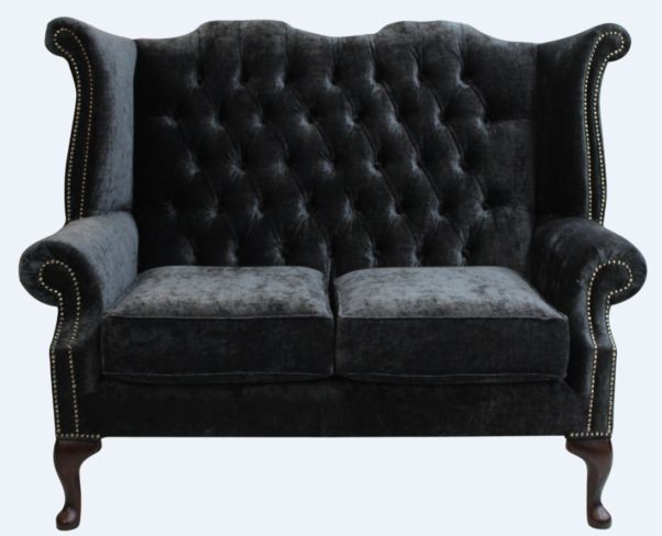 Chesterfield 2 Seater Queen Anne High Back Wing Sofa Chair Modena Black