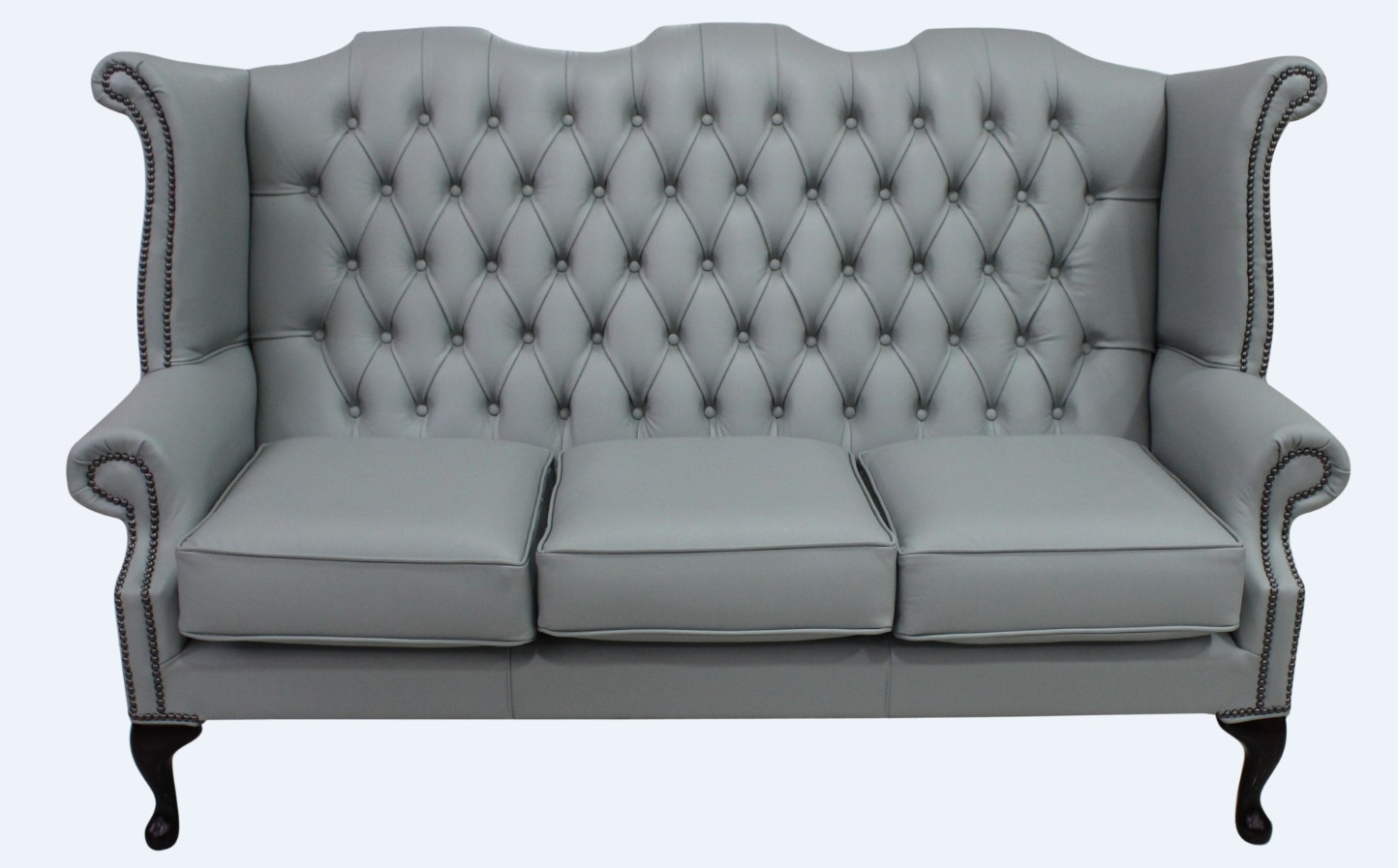 Chesterfield 3 Seater Queen Anne High Back Wing Sofa Moon Mist Grey Leather