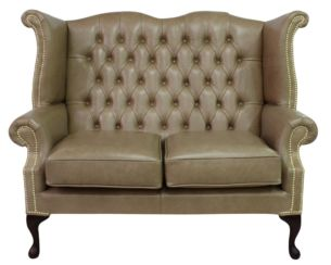 Chesterfield 2 Seater Queen Anne High Back Wing Sofa Old English Parchment Leather