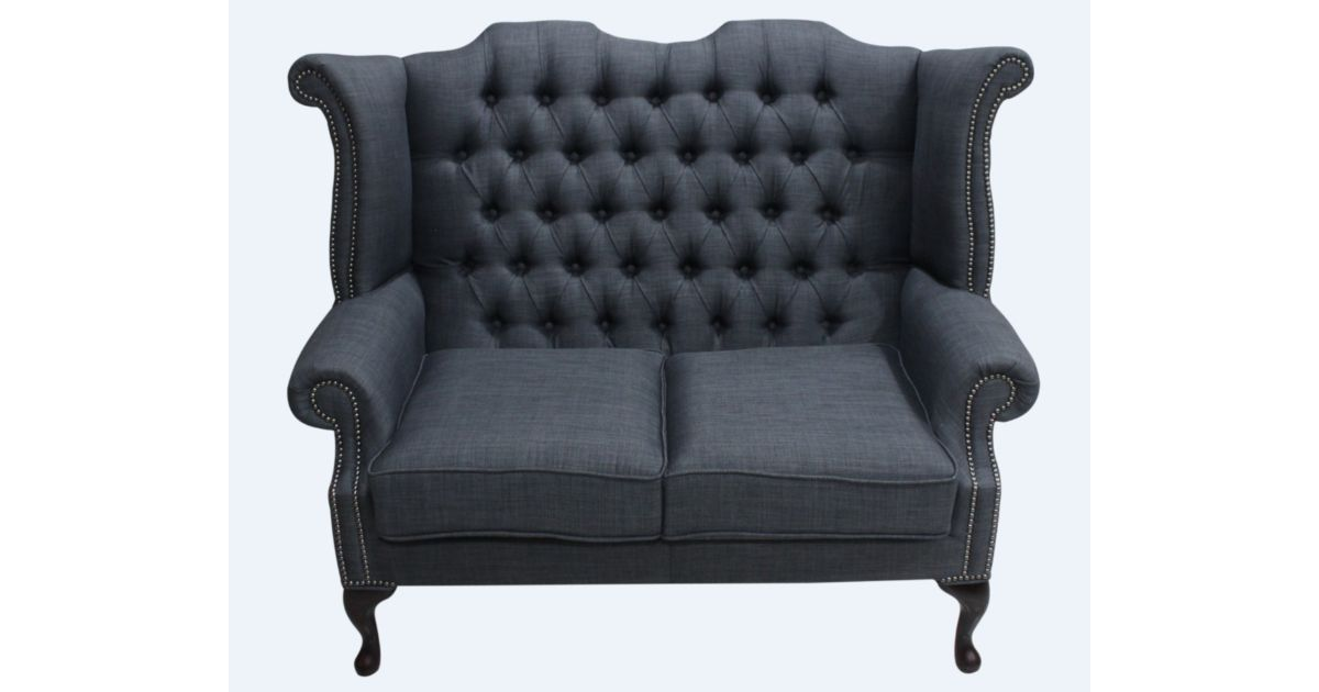 Grey Chesterfield 2 Seater High Back Chair Designersofas4u