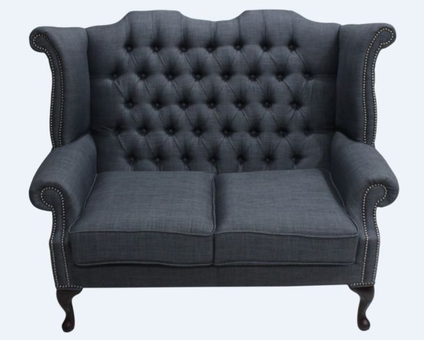 Chesterfield 2 Seater Queen Anne High Back Wing Sofa Charles Charcoal Grey Linen Fabric
