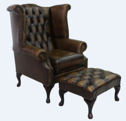 Chesterfield Offer Queen Anne High Back Wing Chair Antique Gold Leather Footstool