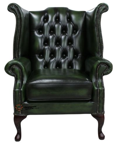 Chesterfield Queen Anne Wing Chair Antique Green Leather