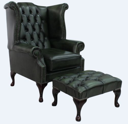 Chesterfield Offer Queen Anne High Back Wing Chair Antique Green Leather Footstool