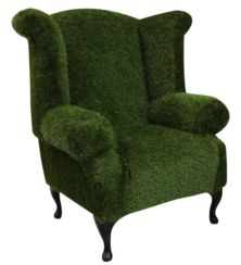 Chesterfield Grass Queen Anne High Back Wing Chair