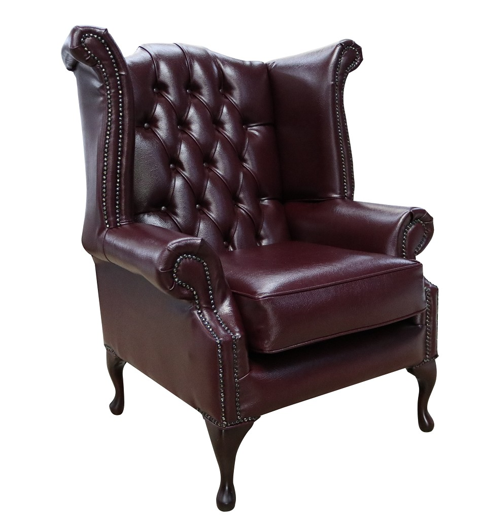 Excellent Bonded Leather Burgandy Chesterfield Queen Anne Wing Chair Designersofas4U Creativecarmelina Interior Chair Design Creativecarmelinacom