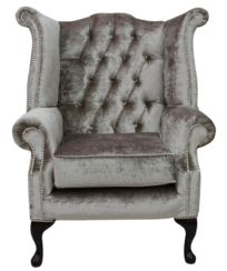 Chesterfield Queen Anne High Back Wing Chair Boutique Beige Velvet