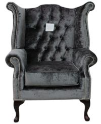 Chesterfield Queen Anne High Back Wing Chair Boutique Storm Velvet