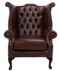 Chesterfield Queen Anne High Back Wing Chair Byron Conker Leather