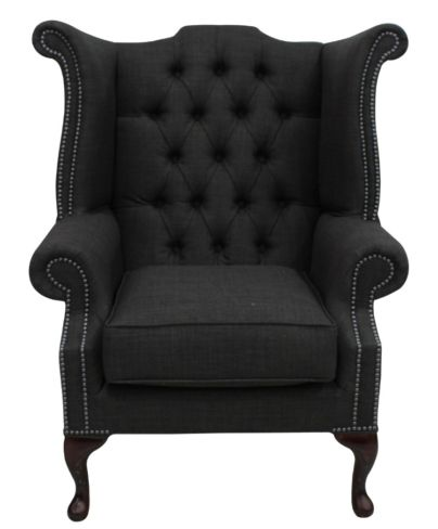 Chesterfield Linen Queen Anne High Back Wing Chair Charles Charcoal Grey
