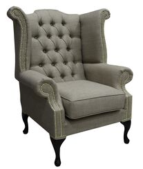 Chesterfield Linen Queen Anne High Back Wing Chair Charles Charcoal Fudge