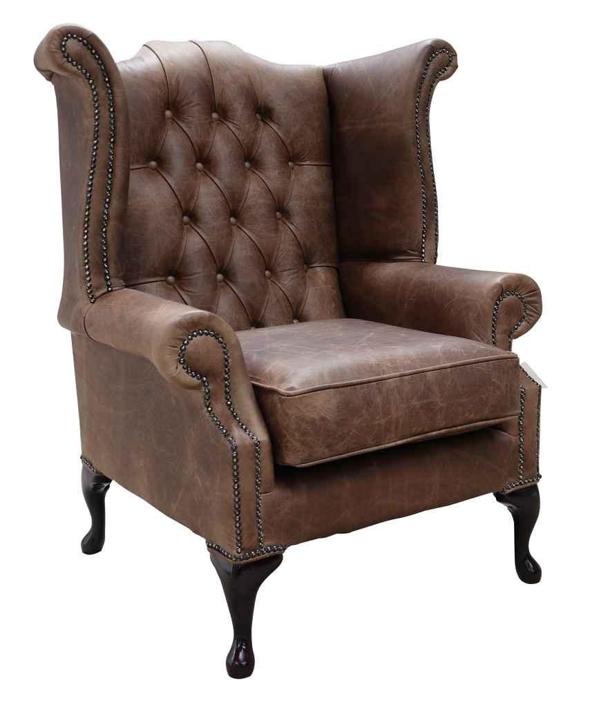 Tobacco Chesterfield Queen Anne High Back Chair Designersofas4u