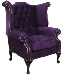Chesterfield Queen Anne High Back Wing Chair Dakota Violet Purple Velvet