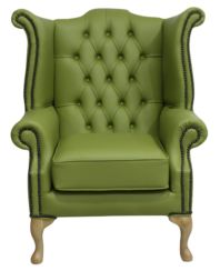 Chesterfield Queen Anne High Back Wing Chair Field Green Leather