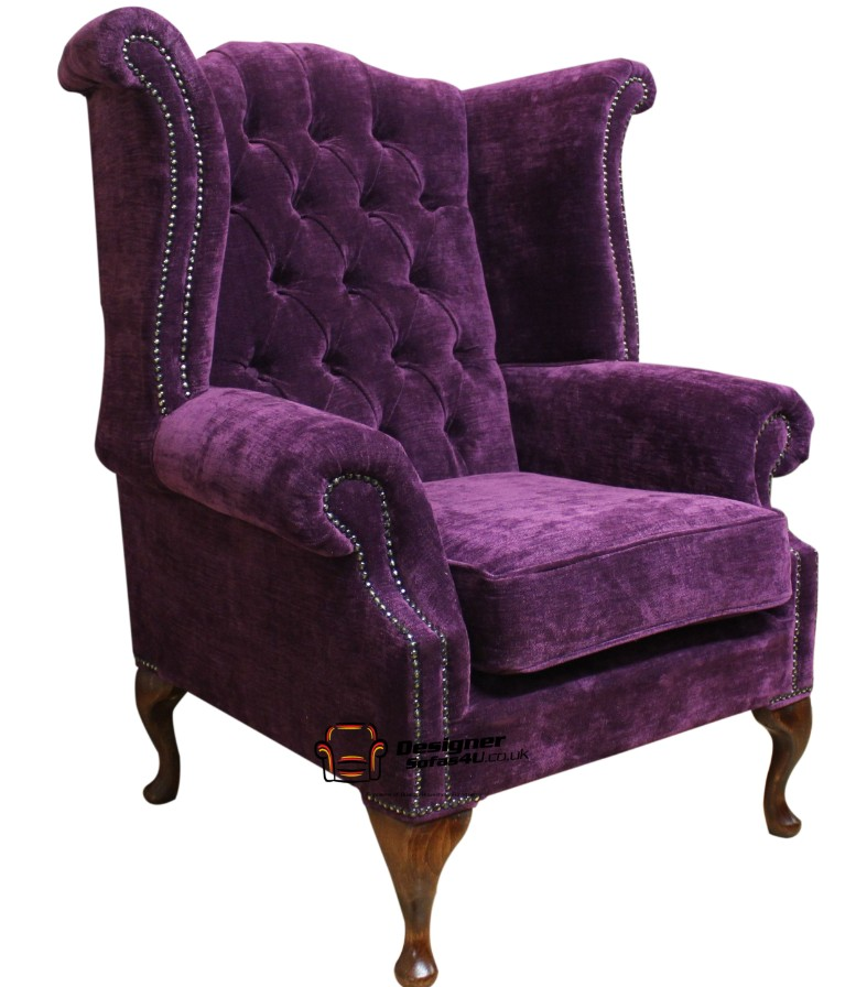 Fabric chesterfield wing chair buy at designer sofas 4u