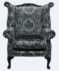 Chesterfield Saxon Queen Anne High Back Wing Chair Georgette Silver Velvet